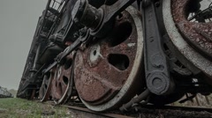 A huge wheel standing antique locomotive Stock Footage