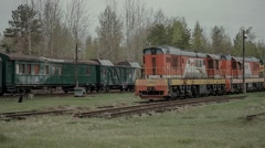 old abandoned rail cars and locomotives - stock footage