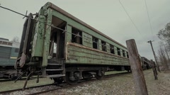 Old abandoned train cars Stock Footage