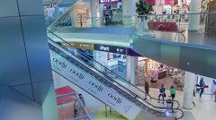 Modern escalator with a large hypermarket Stock Footage