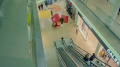 modern escalator with a large hypermarket - stock footage