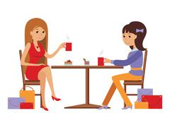 Two beautiful women talking at coffee shop while drinking Stock Illustration