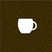 Coffee background with white cup Stock Illustration