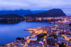 Cityscape of Alesund - Norway - stock photo