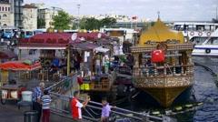 Popular fish sandwich buffets on the water near Galata bridge Stock Footage