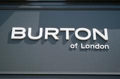 """retail of the logo of the brand """"Burton"""" - stock photo"""