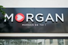 "Retail of the logo of the brand ""Morgan"" Stock Photos"