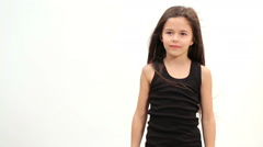 Girl shows a model pose - stock footage