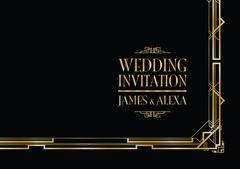 wedding invitation art deco - stock illustration