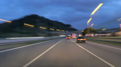 Highway Motorway Rage Camera Car High Speed at Dusk - stock footage