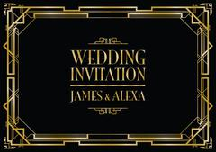 Wedding invitation art deco Stock Illustration