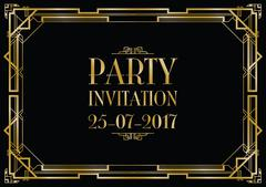 Party invitation art deco background Stock Illustration