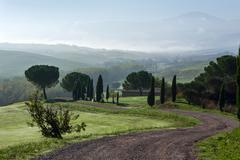General view of Val d Orcia Tuscany - stock photo