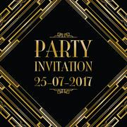 party invitation art deco background - stock illustration