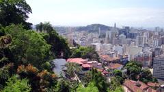 Aerial downtown and Santa Teresa neighbourhood hill Rio de Janeiro Stock Footage