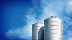 Large Silos On Sunny Day - stock footage