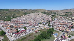 Sicilian City Footprint and Landscape - Aerial Wide Shot - stock footage