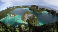 Vista of Limestone Islands and Lagoon in Wayag, Raja Ampat Stock Footage