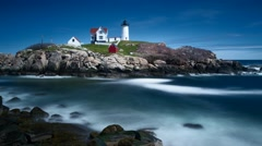 Time lapse of transition from high to low tide at Nubble Light House Stock Footage