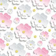 Seamless pattern with pink and white sakura Stock Illustration