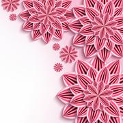 Modern background with pink 3d paper flowers Stock Illustration