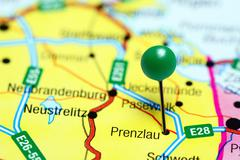 Prenzlau pinned on a map of Germany - stock photo