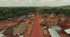 Africa Aerial Ghana aframso village truck 4k Stock Footage
