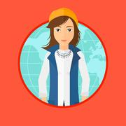 Business woman taking part in global business - stock illustration