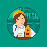 Sad woman drinking alcohol Stock Illustration