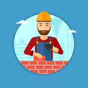 Bricklayer with spatula and brick Stock Illustration