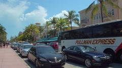 Video tour of Ocean Drive Miami Beach Stock Footage