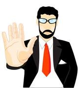Person with stretched by palm Stock Illustration