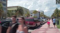 Stock video Ocean Drive pedestrian path Stock Footage