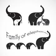Vector image of family elephants on white background, Elephants design, Eleph - stock illustration
