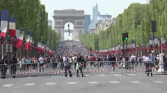 ULTRA HD 4k,Triumphal Arch and Champs-Elysees at day without traffic cars Stock Footage