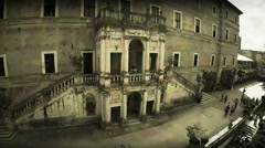 Villa d'Este in Tivoli, Italy. Old film effect, Drone aerial shot, N. Stock Footage