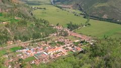 Aerial view of Pisac and Sacred Valley of the Incas - stock footage