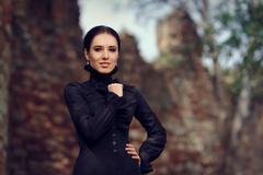 Beautiful Dark Princess at the Castle Stock Photos