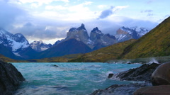 View of Cuemos Del Paine at Lake Pehoe in the Torres Del Paine National Park Stock Footage