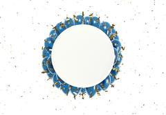 Circle badge and blue balloons Stock Photos