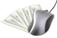 Computer mouse and US money Stock Photos