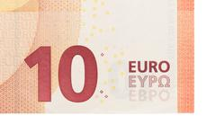 New ten euro banknote, close-up - stock photo