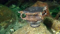 Greek dishware - kantharos on the seabed (Black-glazed ware). Stock Footage