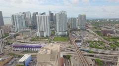 Aerial video Downtown Miami and I95 interchange Stock Footage