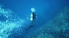Diver underwater Stock Footage