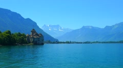 Chillon Castle and Lac Leman Stock Footage