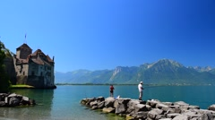 Fishermen at Lac Leman, France Stock Footage