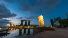 Sunrise time lapse of Singapore city skyline - stock footage