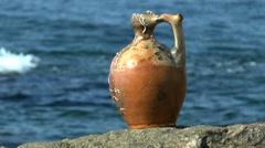 The medieval ceramic jug lifted from the seabed. - stock footage