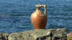 The medieval ceramic jug , sunny. Stock Footage